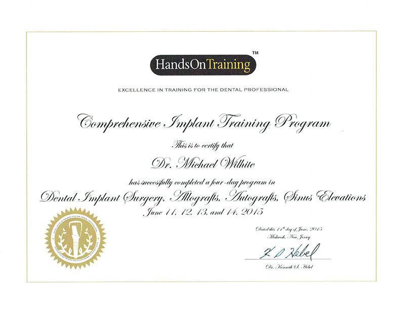 hands on certificate
